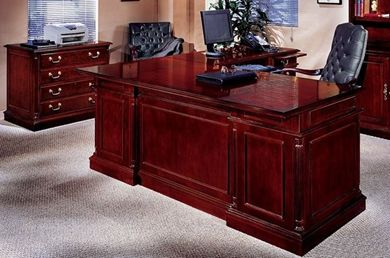 "Picture of Traditional Veneer 72"" L Shape Desk Executive Desk"
