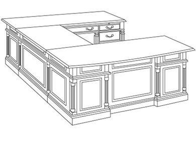 "Picture of Traditional Veneer 72"" Bowfront U Shape Office Desk Workstation"