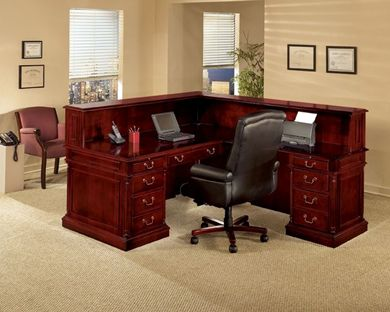 "Picture of Traditional Veneer 72""W L Shape Reception Desk"