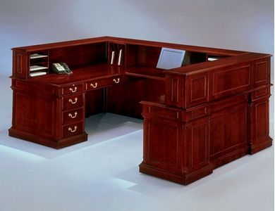 "Picture of Traditional Veneer 72""W u Shape Reception Desk"