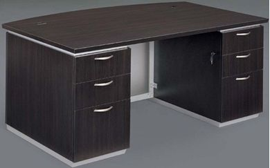"""Picture of Contemporary 72"""" Double Pedestal Bowfront Desk"""