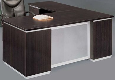 """Picture of 72"""" Contemporary Executive L Shape Desk Station with Filing Pedestals"""