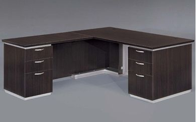 """Picture of Contemporary 66"""" L Shape Office Desk Workstation with Filing Pedestal"""
