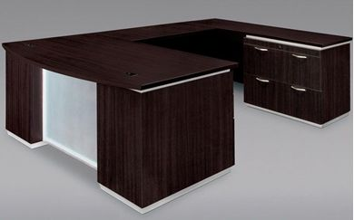 """Picture of Contemporary 72"""" Bowfront U Shape Office Desk Workstation with Lateral File Storage"""