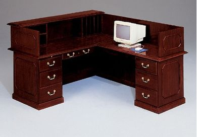 "Picture of Traditional Laminate 66"" L Reception Desk Workstation"