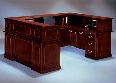 "Picture of Traditional Laminate 72"" U Shape Reception Desk Workstation"