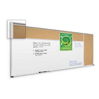 Picture of 4'H x 16'W Porcelain Steel And Natural Cork Whiteboard And Tackboard (Type C)