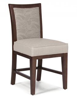 Picture of Armless Wood Dining Cafe Chair with Thick Padded Seat