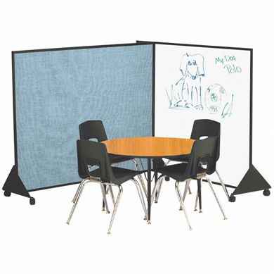 Picture of  4'H x 4'W Black Anodized Vinyl Covered Preschool Dividers & Display Panels