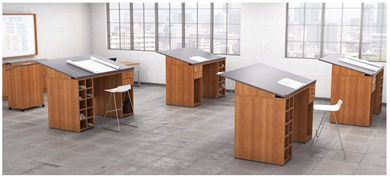 Picture of Training Classroom Drafting Work Table, Set of 4