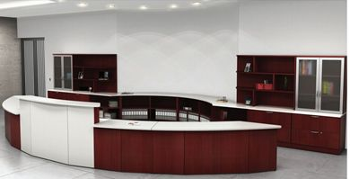 Picture of Custom Curved Reception Desk with Filing Credenza Center