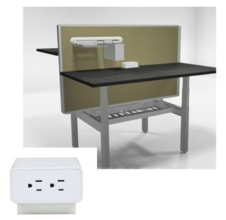 Picture of 2 Person Height Adjustable Teaming Bench Workstation