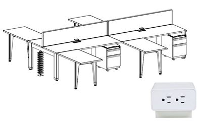 Picture of 4 Person Powered Teaming Bench Seating Workstation