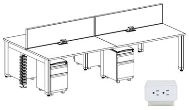 Picture of 4 Person Powered Teaming Bench Workstation with Filing Storage