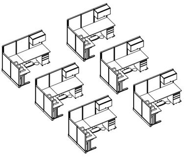 Picture of 6 Person L Shape Cubicle Desk Workstation with Storage