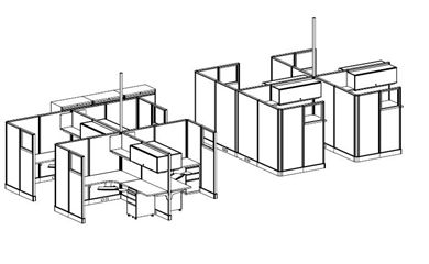 Picture of 2 Pack of 4 Cluster Powered Cubicle Workstations with Lateral Filing