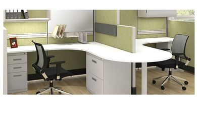 Picture of 2 Person L Shape Cubicle Desk Workstation with Filing Storage