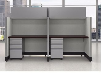 Picture of 2 Person Powered Straight Cubicle Workstation with Filing Storage