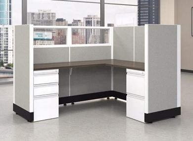"Picture of 72""L Powered L Shape Cubicle Desk Workstation"