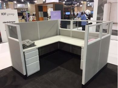 "Picture of 72"" Powered L Shape Cubicle Desk Workstation with Glass Header"