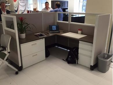 "Picture of 72"" Powered L Shape Cubicle Desk Workstation with Glass Header and Lateral Filing"
