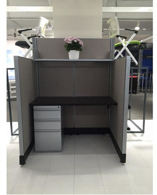 """Picture of 48"""" Powered Cubicle Desk Workstation with Filing Storage"""