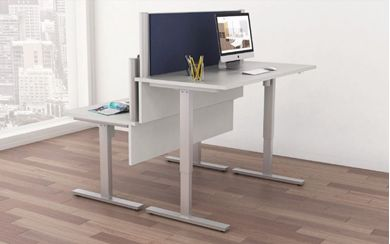 Picture of Pack of 2, Powered Height Adjustable Table with Privacy Divider