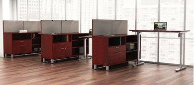 Picture of 3 Person Powered L Shape Office Desk Station with Storage Credenza