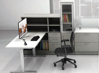 Picture of L Shape Powered Height Adjustable Table with Lateral File Storage