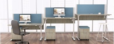 Picture of 3 Person Powered Height Adjustable Table with Filing Storage