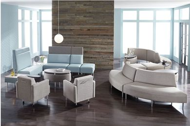 Picture of Contemporary Reception Lounge Modular Curve Benching Configuration