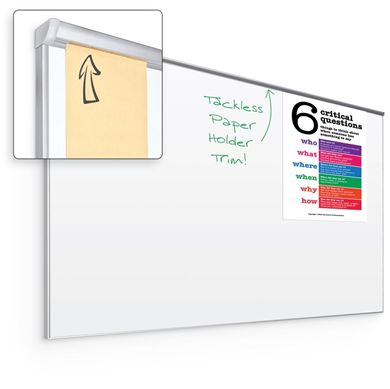 Picture of 4'H x 4'W Silver Trim Whiteboard With Hidden Tackless Paper Holder