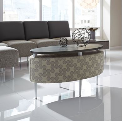 Picture of Contemporary Reception Lounge Modular 3 Armless Chairs with Oval Coffee Table