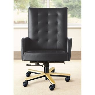 Picture of Contemporary High Back Executive Conference Chair with Wood Base