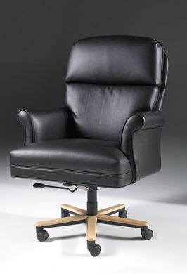 Picture of Traditional High Back Executive Office Conference Chair with Wood Base