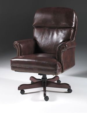 Picture of Traditional Executive High Back Office Conference Chair with Wood Base
