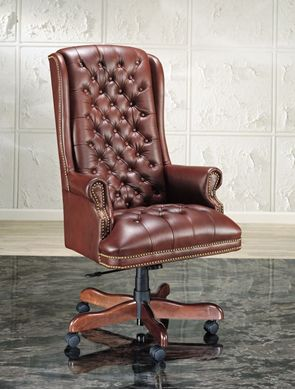 Picture of Traditional Executive High Back Tufted Conference Chair with Wood Base