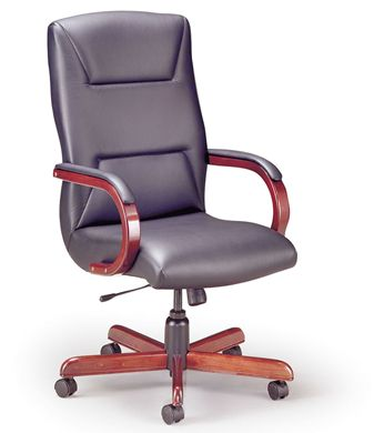 Picture of High Back Executive Office Conference Chair with Wood Base