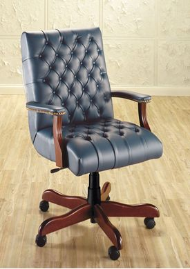 Picture of Traditional High Back Tufted Conference Chair with Wood Base