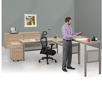 "Picture of 72"" L Shape Table Desk, Standing Height Table and Lateral File Storage"