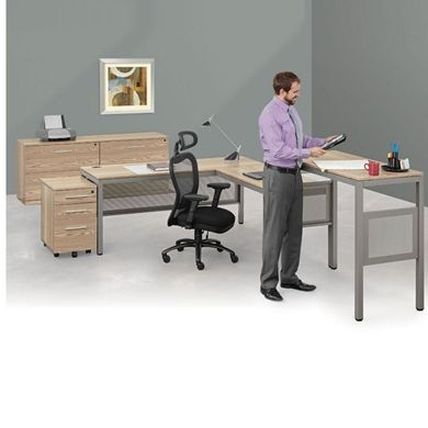 """Picture of 72"""" L Shape Table Desk, Standing Height Table and Lateral File Storage"""