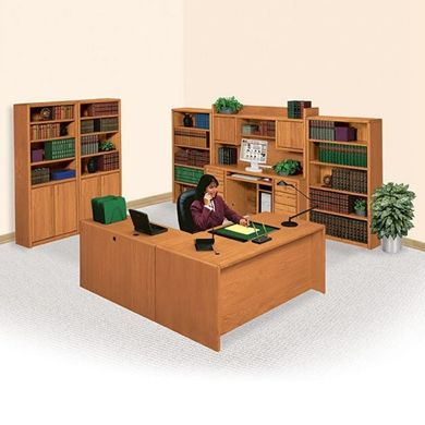 Picture of Veneer L Shape Desk with Computer Credenza Desk and Bookcase Storage
