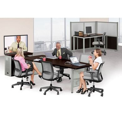 """Picture of 8' Conference Table with Corner Panel Divider and 60""""W Table Desk"""