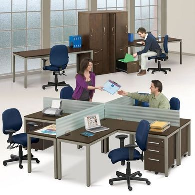 """Picture of 4 Person 60"""" L Shape Desk with Filing Cabinet and Wardrobe Storage"""