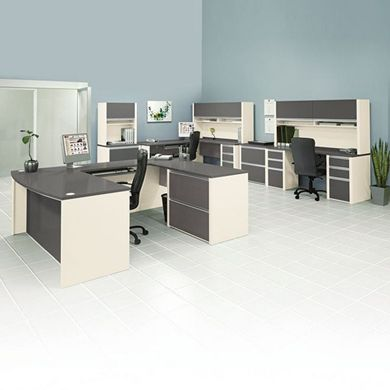Picture of 3 Person Desk Station with Lateral File Storage