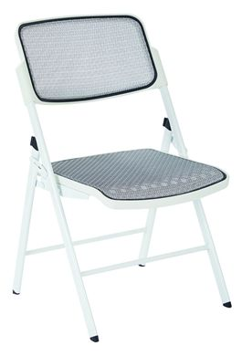 Picture of Set of 6, White Frame Mesh Folding Chair