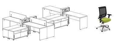Picture of Teaming 6 Person L Shape Workstation with Power and Ergonomic Task Seating
