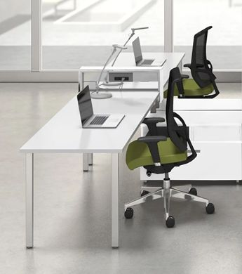 Picture of Teaming 2 Person L Shape Workstation with Power and Ergonomic Chairs