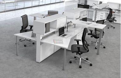 Picture of 4 Person Shared Teaming Workstation with Power and Ergonomic Seating