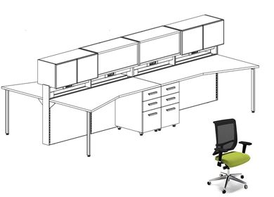 Picture of 4 Person Teaming Bench Workstation with Power and Ergonomic Seating